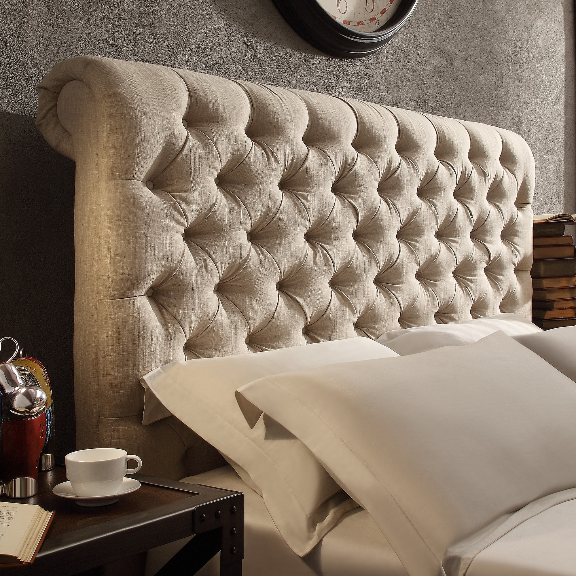 shop tribecca home knightsbridge beige linen rolled top tufted chesterfield king headboard. Black Bedroom Furniture Sets. Home Design Ideas