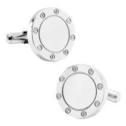 Men's Ox & Bull Trading Co. Stainless Steel Engravable Bolted Cufflinks Silver