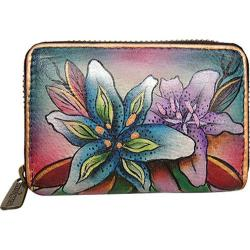 Women's Anuschka Credit And Business Card Holder 1110 Luscious Lilies Denim