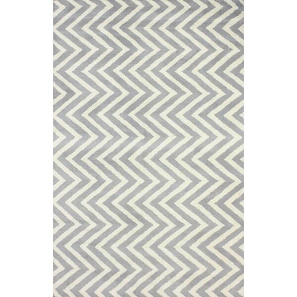 Chevron Denim Wool Rug: NuLOOM Handmade Vertical Chevron Wool Rug (5' X 8')