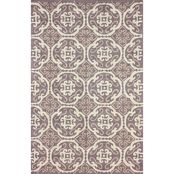 nuLOOM Hand-hooked Transitional Tiles Brown Rug (5' x 8')