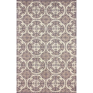 nuLOOM Hand-hooked Transitional Tiles Brown Rug (7'6 x 9'6)