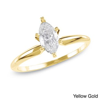 Auriya 14K Gold 1ct TDW Marquise 6-Prong Diamond Ring (H-I, SI1-SI2)
