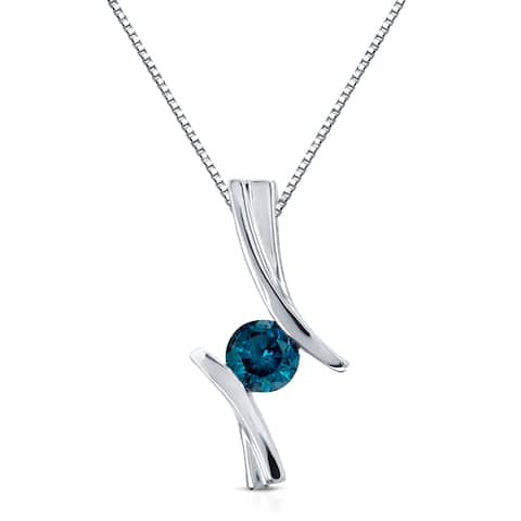 Auriya Contemporary 1/2ctw Round Blue Diamond Necklace 14k White Gold
