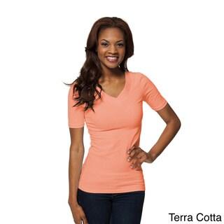 Modbod Women's Basic Half-sleeve Double V Tee