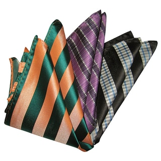 Dmitry Men's Orange/Black/Purple Italian Silk Pocket Squares (Pack of 3)