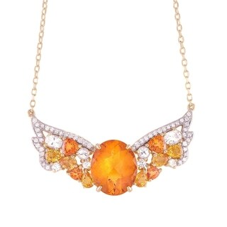 14k Yellow Gold 1/4ct TDW Multi-stone Wings Necklace (H-I, I2-I3)