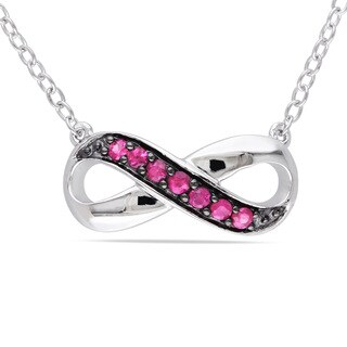 Miadora Sterling Silver Pink Sapphire Infinity Necklace