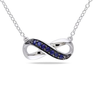 Miadora Sterling Sapphire Infinity Necklace