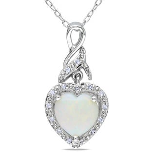 Miadora Sterling Silver Opal and Diamond Heart Necklace