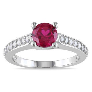 Miadora 10k White Gold Created Ruby and 1/4ct TDW Diamond Ring (G-H, I1-I2)