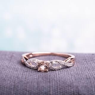 miadora roseplated silver morganite and 110ct tdw diamond ring g h i2 - Morganite Wedding Rings