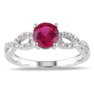 Miadora 10k White Gold Created Ruby and 1/10ct TDW Diamond Ring (G-H, I1-I2)