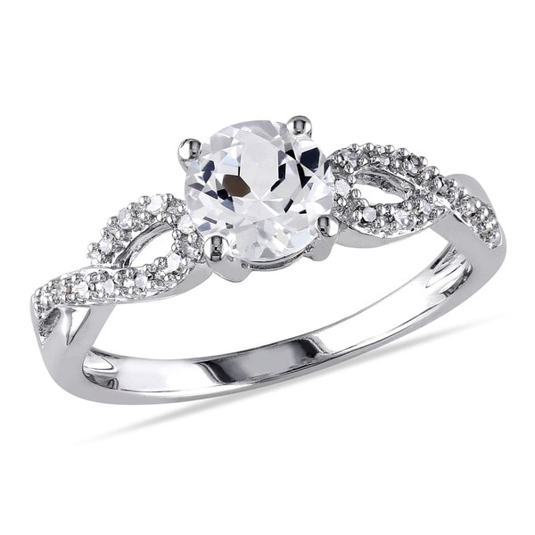 miadora 10k white gold 110ct tdw diamond and created white sapphire engagement ring - White Sapphire Wedding Rings