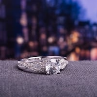 Miadora 10k White Gold Created White Sapphire and 1/10ct TDW Diamond Engagement Ring