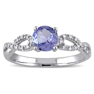 Miadora 10k White Gold Tanzanite and 1/10ct TDW Diamond Ring (G-H, I1-I2)