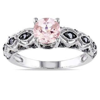 Miadora 10k White Gold Morganite and 1/4ct TDW Black Diamond Ring - Pink