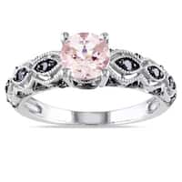 Miadora 10k White Gold Morganite and 1/4ct TDW Black Diamond Ring