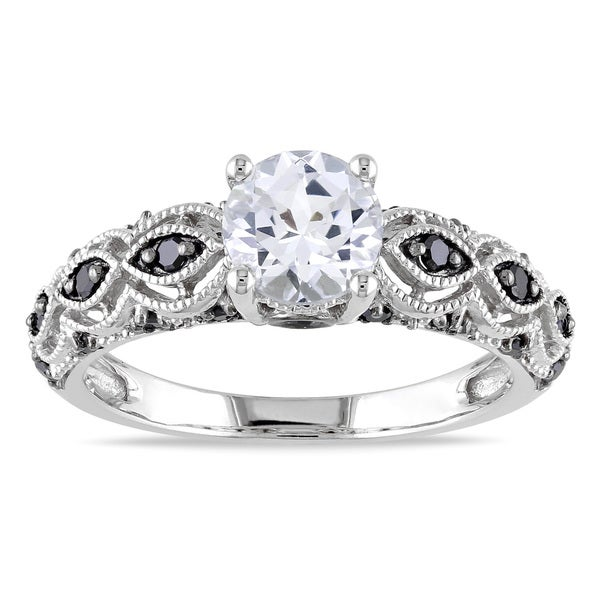 Miadora 10k White Gold Created White Sapphire and 1/4ct TDW Black Diamond Engagement Ring