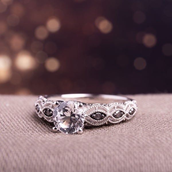 Miadora 10k White Gold Created White Sapphire and 1/4ct TDW Black Diamond Engagement Ring