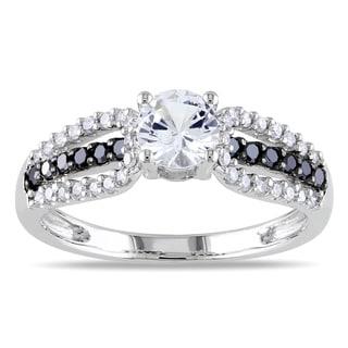 Miadora 10k Gold White Sapphire and 1/3ct TDW Black and White Diamond Ring