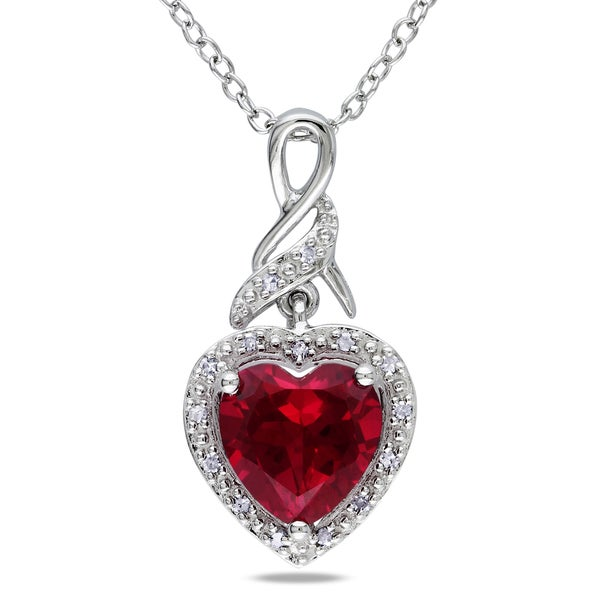 8584b78b2884a Shop Miadora Sterling Silver Created Ruby and Diamond Accent Heart ...