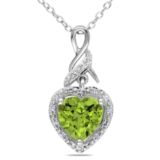 Miadora Sterling Silver Peridot and Diamond Accent Heart Necklace