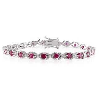 Miadora Sterling Silver Created Ruby and Diamond Accent Bracelet
