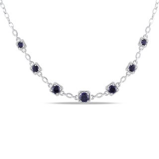 Miadora Sterling Silver 8 3/4ct TGW Sapphire and Diamond Accent Birthstone Station Necklace