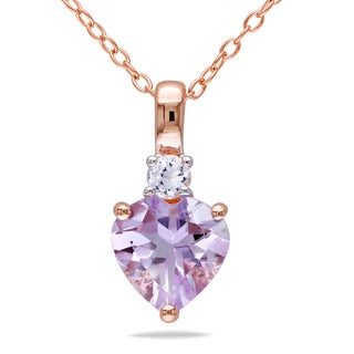 Miadora Rose Plated Silver Rose de France and White Sapphire Heart Necklace