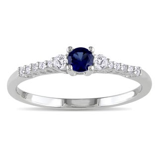 Miadora Sterling Silver Created Blue and White Sapphire and Diamond Accent Ring