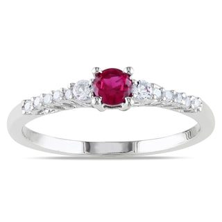 Miadora Sterling Silver Created Ruby White Sapphire and Diamond Accent Ring
