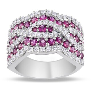 Miadora Sterling Silver 3 1/2ct TGW Pink and White Sapphire Cocktail Ring