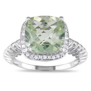 Miadora Sterling Silver Green Amethyst and 1/6ct TDW Diamond Ring (H-I, I2-I3)