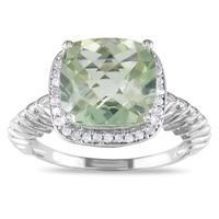 Miadora Sterling Silver Green Amethyst and 1/6ct TDW Diamond Ring (H-I, I2-I3)