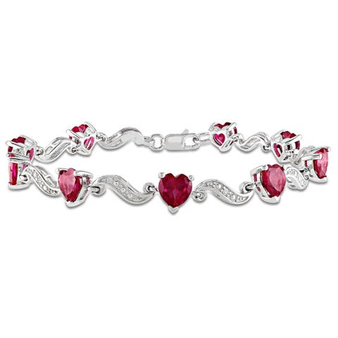 Miadora Sterling Silver Created Ruby and Diamond Accent Heart Bracelet