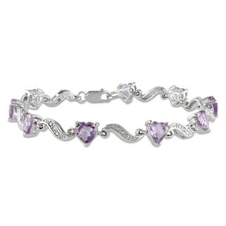 Miadora Sterling Silver Amethyst and Diamond Accent Heart Bracelet