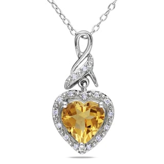 Miadora Sterling Silver Citrine and Diamond Heart Necklace