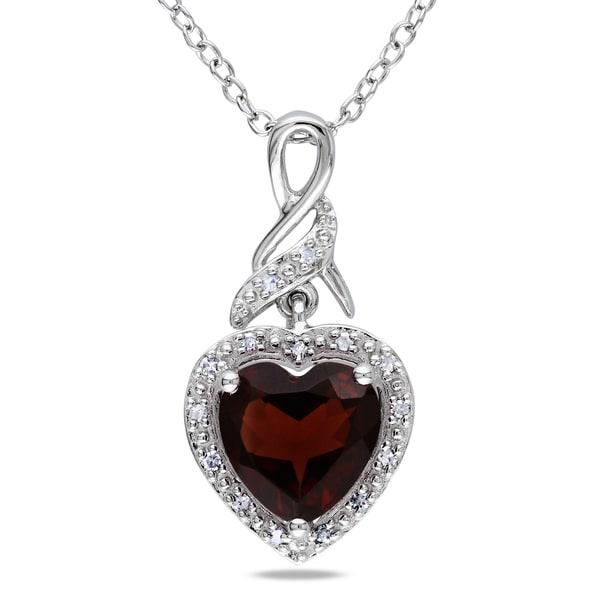 Miadora Sterling Silver Garnet and Diamond Heart Necklace