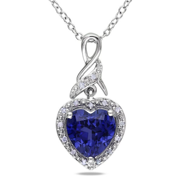 Miadora Sterling Silver Created Blue Sapphire and Diamond Necklace
