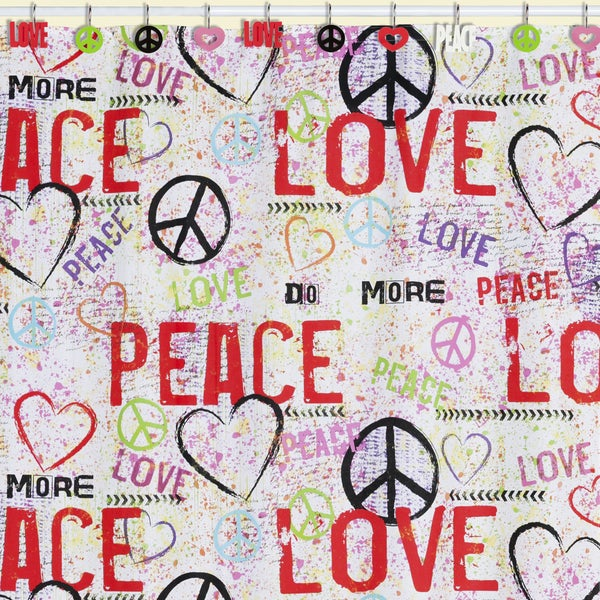 Merveilleux Peace Love Graffiti Shower Curtain U0026amp; ...