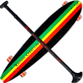 Kahuna Creations Beach Board Rasta 44-inch Longboard with Bonus Adjustable Paddle Stick
