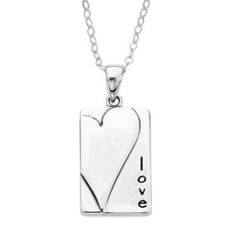 'Love' Sterling Silver Heart Necklace