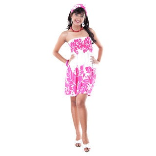 1 World Sarongs Women's Pink and White Three Leis Strapless Dress Cover-Up (Indonesia)