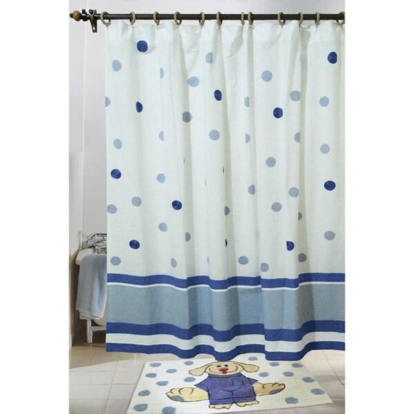Elsie Dot and Stripe Cotton Shower Curtain