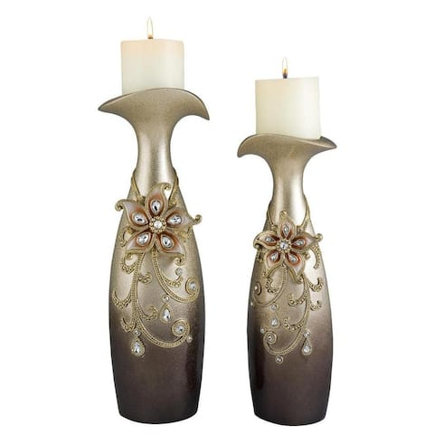 14-Inch to 16-Inch Sapphire Rose Candleholder Set