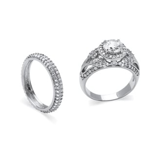 2.60 TCW Round Cubic Zirconia Two-Piece Halo Bridal Set in Platinum over Sterling Silver C