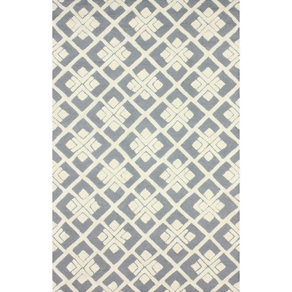 Shop Nuloom Handmade Squares Grey New Zealand Wool Rug 5