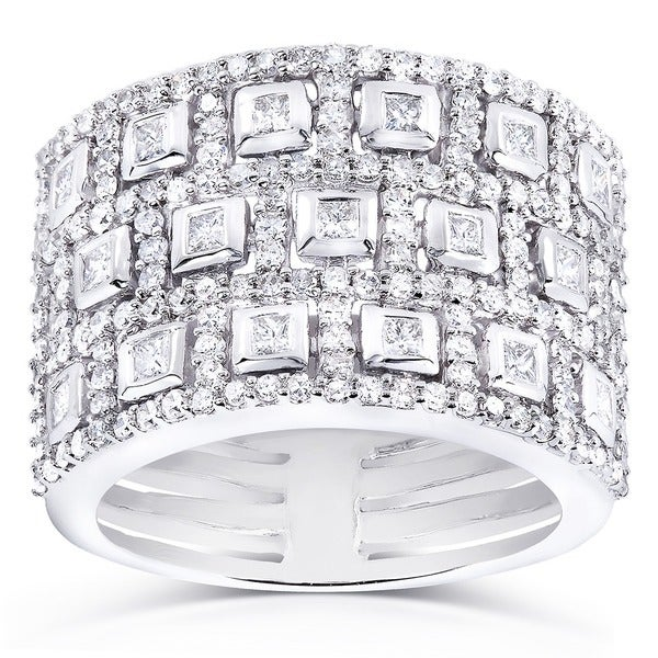 Annello by Kobelli 14k White Gold 1ct TDW Bezel Pave Diamond Anniversary Wide Band