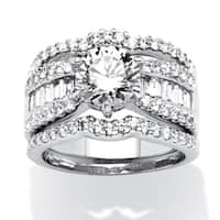 Platinum over Sterling Silver Cubic Zirconia 3 Piece Engagement Ring - White